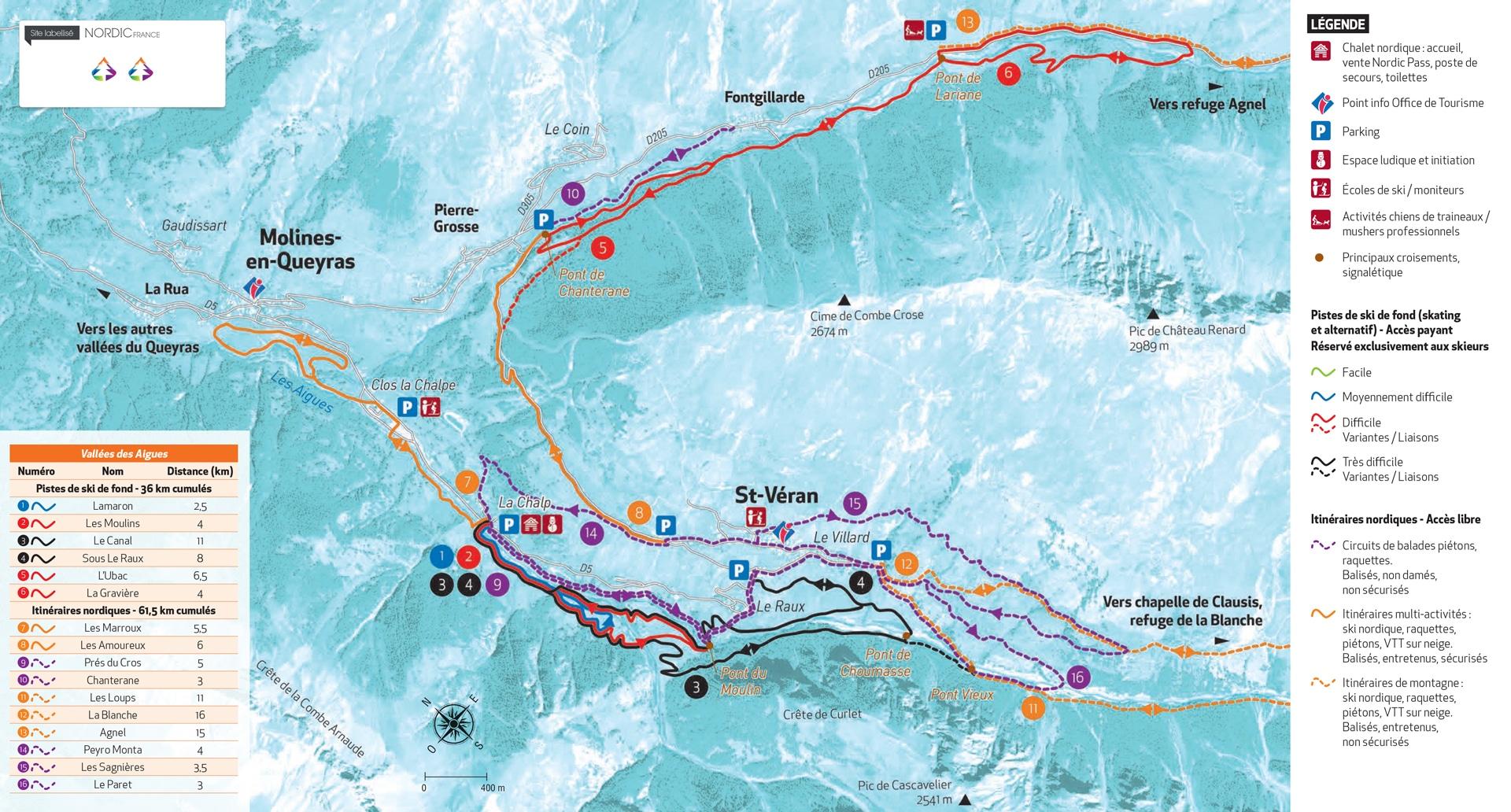 Plan Saint Veran ski de fond ski nordique